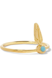 Tiny Feather gold-plated turquoise ring