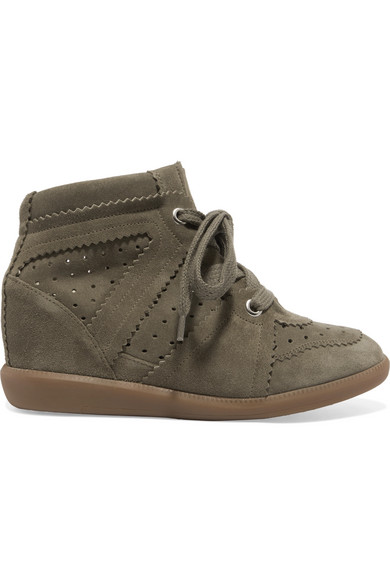 Étoile Bobby Suede Wedge Sneakers in Army Green