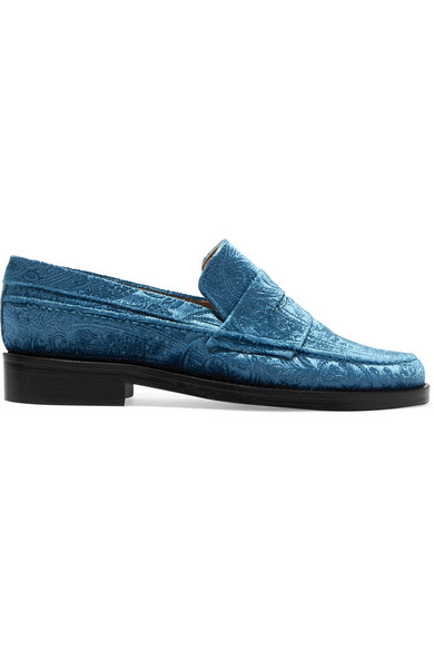 mr by man repeller female mr by man repeller the alternative to bare feet embossed velvet loafers light blue