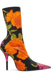 Floral-print Spandex ankle boots
