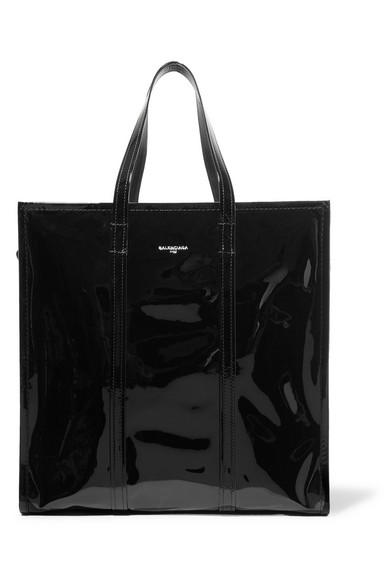 Balenciaga - Bazar Large Patent-leather Tote - Black
