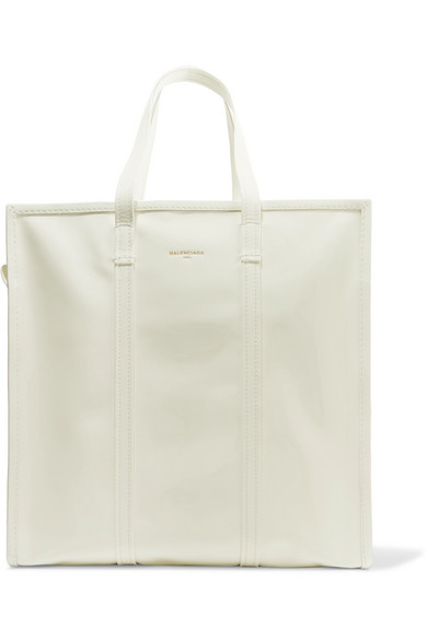 Balenciaga - Bazar Large Patent-leather Tote - White