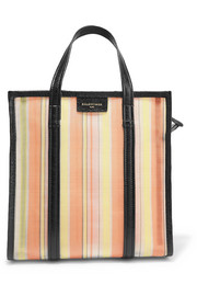 Bazar small textured leather-trimmed mesh tote