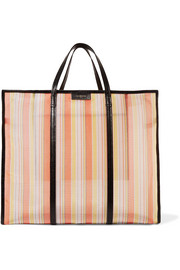 Bazar XL textured leather-trimmed striped mesh shopper