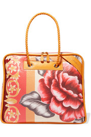 Balenciaga Blanket floral-print textured-leather tote