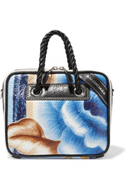 Blanket floral-print textured-leather tote