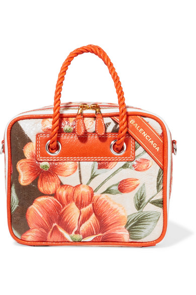 Balenciaga - Blanket Small Printed Leather Tote - Orange
