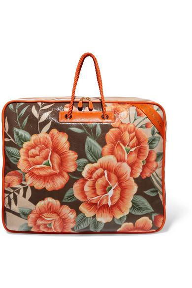 Balenciaga - Blanket Xl Floral-print Textured-leather Tote - Orange