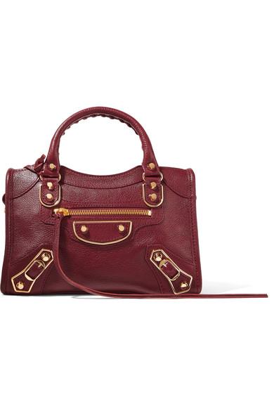 Balenciaga - Metallic Edge City Mini Textured-leather Tote - Burgundy