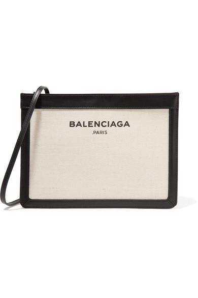25601388b Balenciaga | Leather-trimmed canvas shoulder bag | NET-A-PORTER.COM