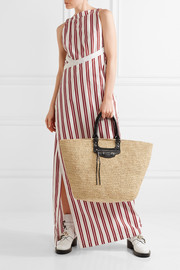 Panier large leather-trimmed raffia tote