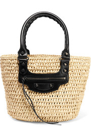 Balenciaga Panier leather-trimmed woven raffia tote