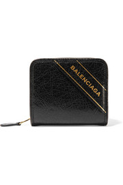 Embossed textured-leather wallet
