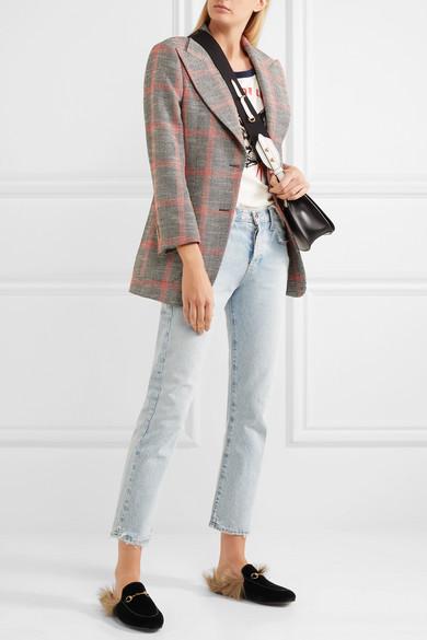 80102da2ee6 Gucci. Princetown horsebit-detailed shearling-lined velvet slippers