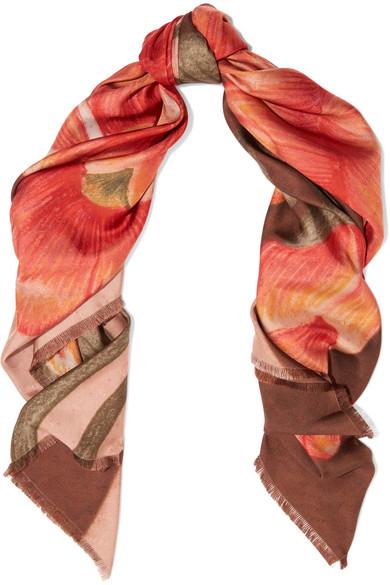 Balenciaga - Floral-print Silk-satin Twill Scarf - Orange