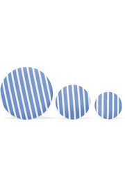 Balenciaga Set of three striped poplin and silver-tone earrings