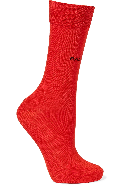 Red Intarsia cotton-blend socks
