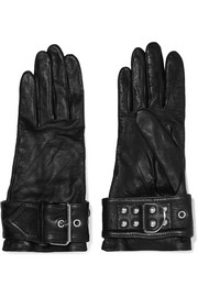 Buckled leather gloves