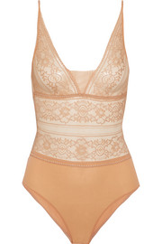 Stella McCartney Ophelia Whistling stretch and Leavers lace bodysuit