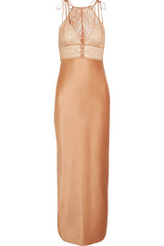 Ophelia Whistling lace-paneled stretch-silk satin  chemise