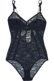 Stella McCartney Lola Adoring cutout satin-trimmed stretch-lace bodysuit