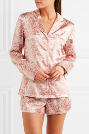 Poppy Snoozing leopard-print stretch-silk satin pajama set