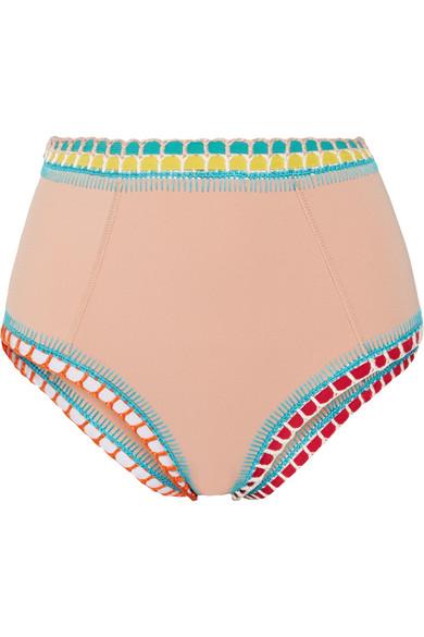 Kiini - Luna Crochet-trimmed High-rise Bikini Briefs - Beige