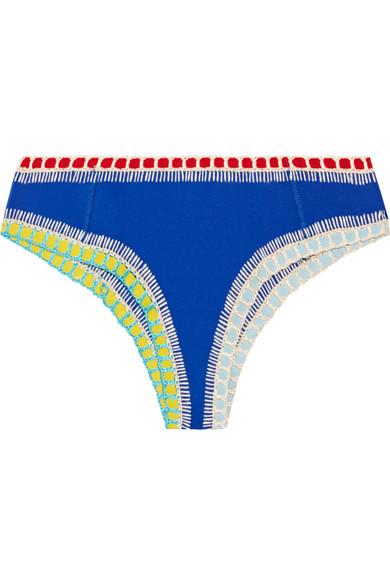 Kiini - Tuesday Crochet-trimmed Bikini Briefs - Bright blue