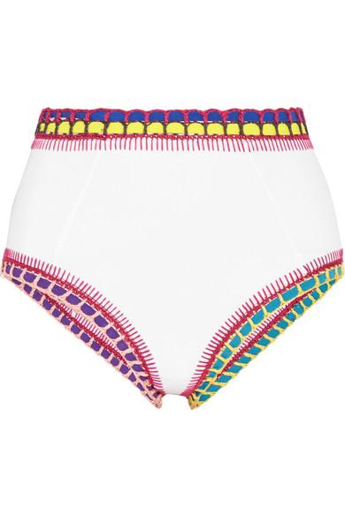 Kiini - Yaz Crochet-trimmed Bikini Briefs - White