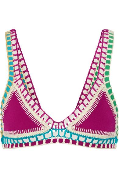 Kiini Coco Crochet-trimmed Triangle Bikini Top In Plum