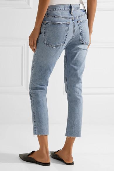RE/DONE | Originals Relaxed Crop frayed slim boyfriend jeans | NET ...