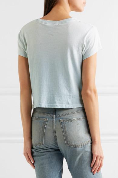 RE/DONE + Hanes 1950s T-Shirt aus Baumwoll-Jersey in Distressed-Optik