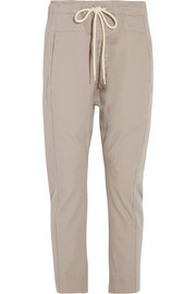 Cotton-drill tapered pants