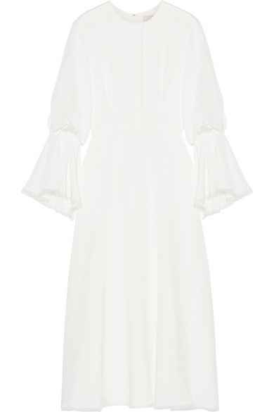 OPHELIA TULLE-TRIMMED SILK GOWN