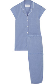 Poppy embroidered cotton-poplin pajama set