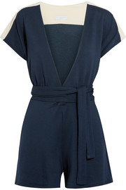 Francine jersey-trimmed French terry playsuit