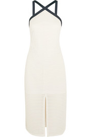 Carter mesh-paneled jersey halterneck dress