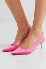 + Manolo Blahnik satin slingback pumps