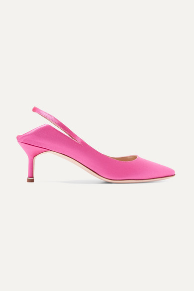 Vetements - Manolo Blahnik Satin Slingback Pumps - Bright pink