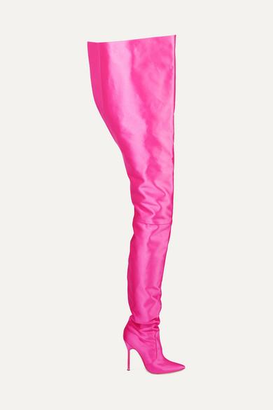 Vetements - Manolo Blahnik Satin Boots - Bright pink