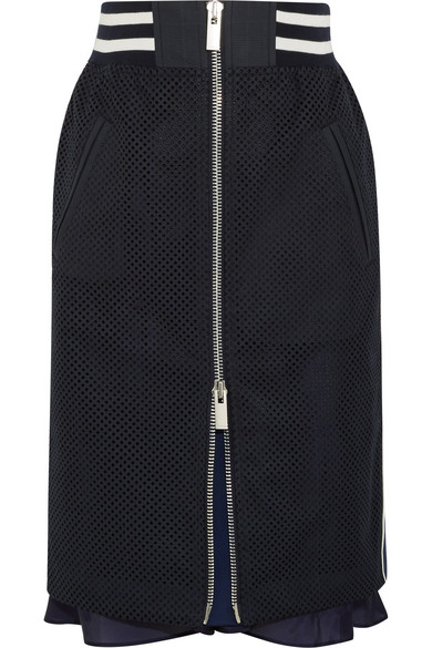 Sacai - Satin-trimmed Laser-cut Prince Of Wales Checked Cotton-jacquard Skirt - Midnight blue