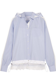 Lace-trimmed poplin hooded shirt