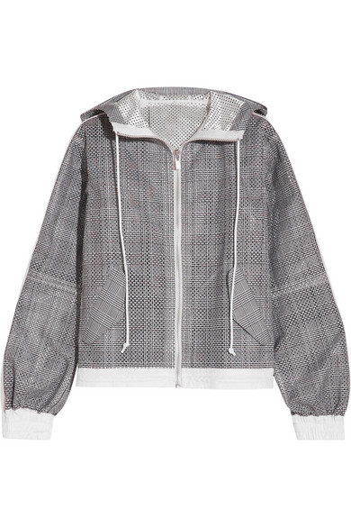 Sacai - Hooded Laser-cut Prince Of Wales Checked Cotton-jacquard Jacket - Dark gray