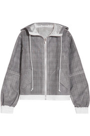 Hooded laser-cut Prince of Wales checked cotton-jacquard jacket