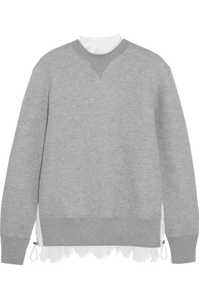 Sacai - Lace-trimmed Cotton-blend Jersey And Laser-cut Poplin Sweatshirt - Gray