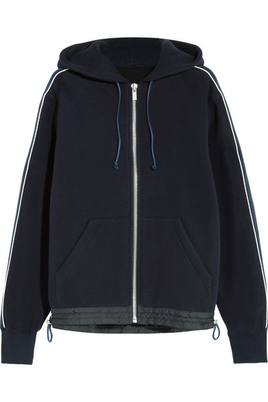 Sacai - Grosgrain-trimmed Cotton-blend Jersey Hooded Top - Midnight blue