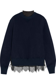 Lace-trimmed cotton-blend jersey and laser-cut poplin sweatshirt