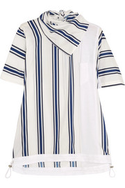 Striped linen-blend and slub jersey T-shirt