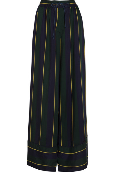 Sacai - Striped Voile Wide-leg Pants - Navy