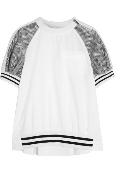 Sacai - Cotton And Laser-cut Prince Of Wales Checked Jacquard T-shirt - White
